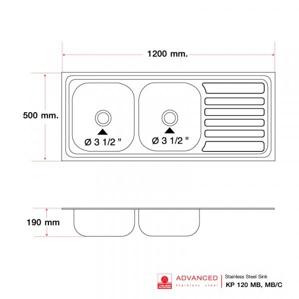 ADVANCE อ่างล้างจาน2 หลุมมีที่พัก พร้อมท่อน้ำทิ้งแบบย่น KP120MB/C