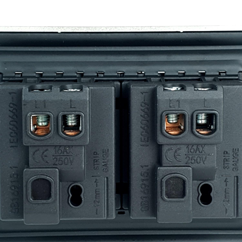 Gentec สวิตซ์ 1 ทาง 2 ช่อง  120G-05 สีเทาดำ