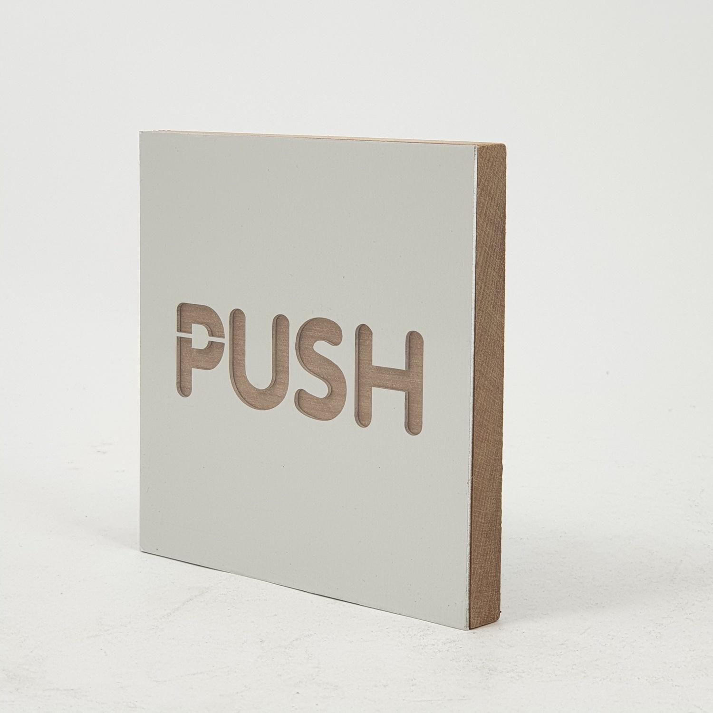 C Signage ป้ายอลูมิเนียม ประกบไม้ Push ขนาด9x9cm.  CSWSS-001 สีเงิน