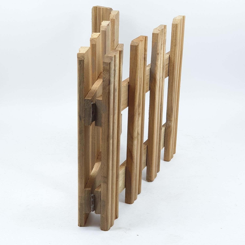 SJK รั้วไม้สักบานพับ 4 พับเล็ก SJK02