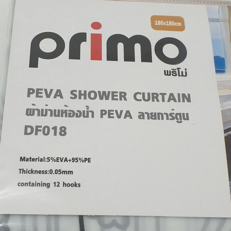 PRIMO ผ้าม่านห้องน้ำ PEVA ลายการ์ตูน ขนาด 180*180 ซม. DF018 สีขาว