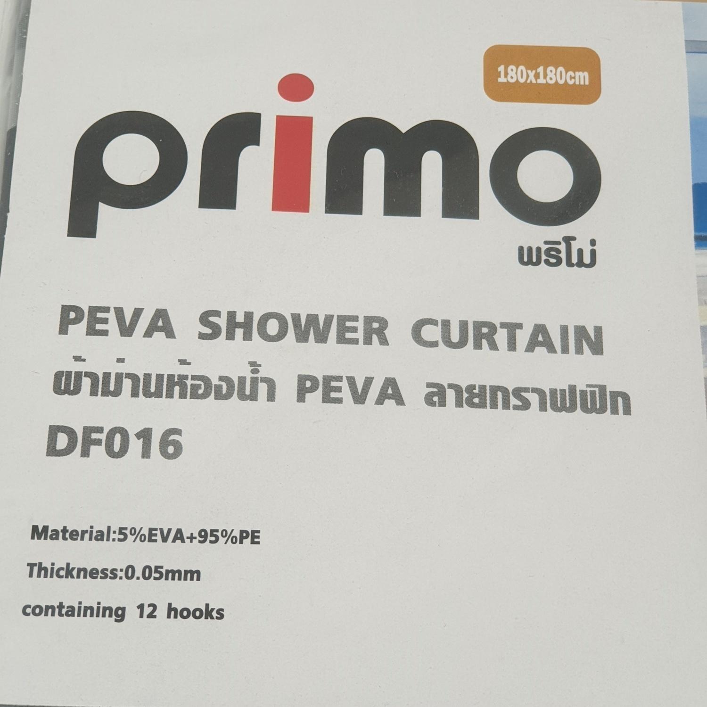 PRIMO ผ้าม่านห้องน้ำ PEVA ลายกราฟฟิก ขนาด 180*180 ซม. DF016