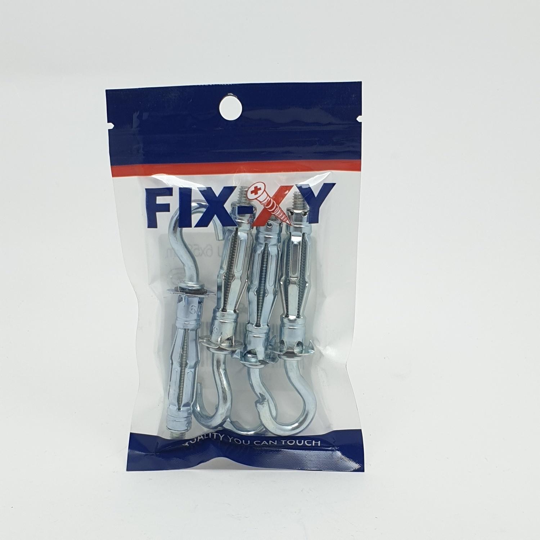 FIX-XY พุกตะขอเหล็กยิบซั่ม 6x58 mm. (4ชิ้น/แพ็ค) EO-003 สีขาว