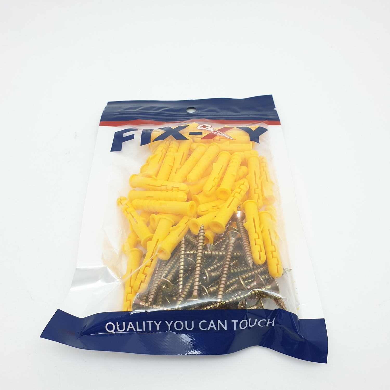 FIX-XY พุกพลาสติก เบอร์ 7 พร้อมสกรู (50ชิ้น/แพ็ค) EN-004-CL สีขาว