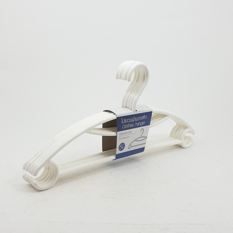 LUXUS ไม้แขวนผ้าพลาสติก 5ชิ้น/แพ็ค EKK009-WH  สีขาว