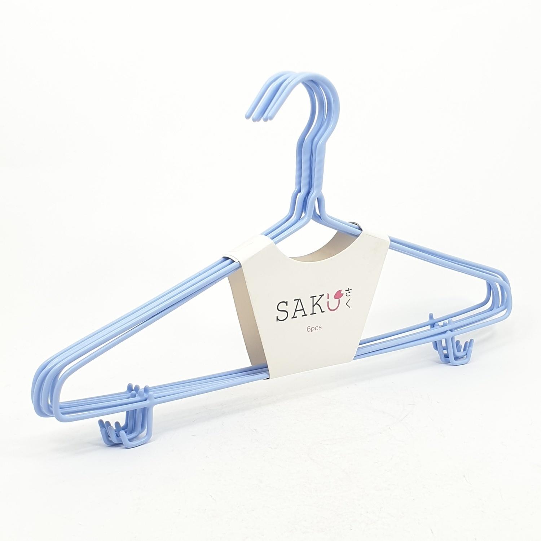 SAKU ไม้แขวนเสื้อเหล็กเคลือบ บรรจุ 6ชิ้น/แพ็ค   AN13  สีฟ้า