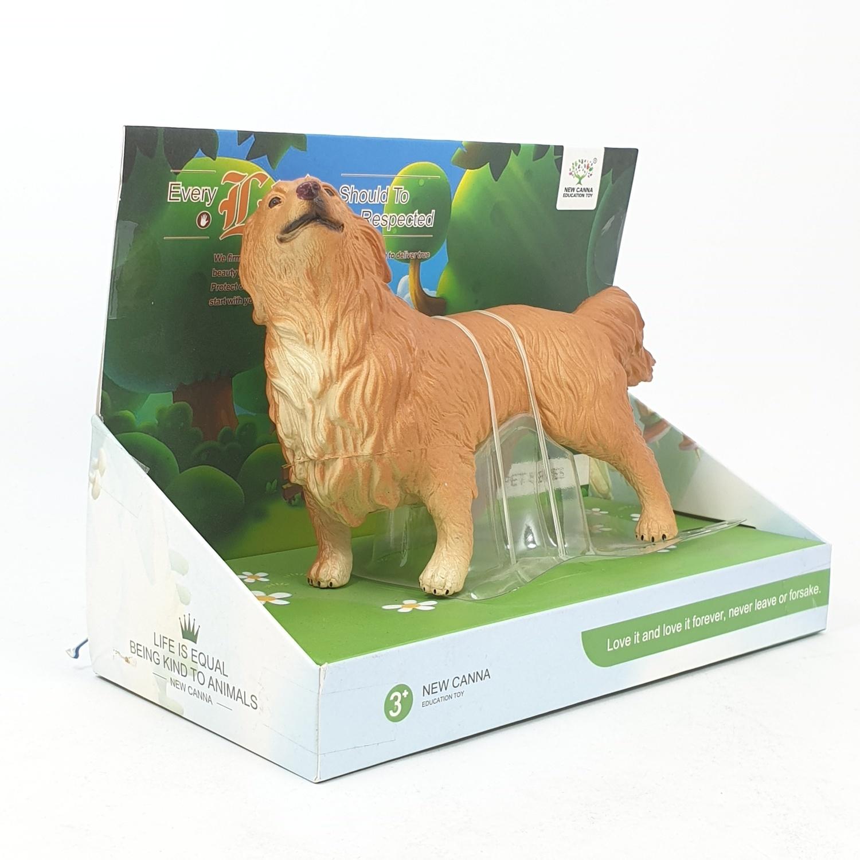 Sanook&Toys สุนัขโกลเด้นจำลอง ขนาด 9 นิ้ว  ขนาด 11*22*16.5cm X111 สีน้ำตาล
