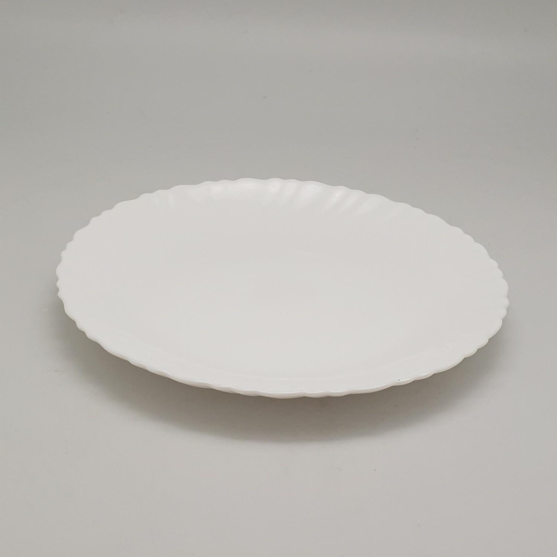 ADAMAS จานโอปอลขอบริ้ว 7.5 นิ้ว HBTP75-H0 สีขาว