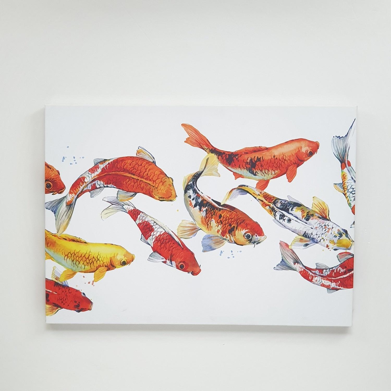 NICE รูปภาพพิมพ์ผ้าใบ Fengshui ขนาด  70x50 ซม. (ก.xส.) (กลุ่มปลาคราฟ) C7050-8