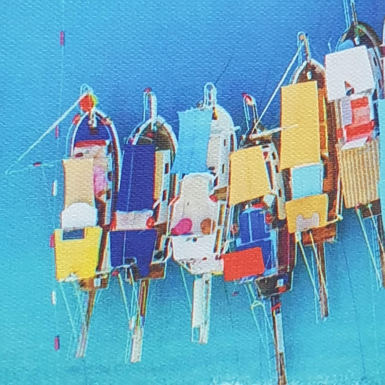 NICE รูปภาพพิมพ์ผ้าใบ View-Sea ขนาด  70x50 ซม. (ก.xส.) (เรือจอดริมฝั่ง) C7050-13