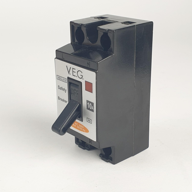 V.E.G. เซฟตี้เบรกเกอร์ 10A   NT-50 2P สีดำ
