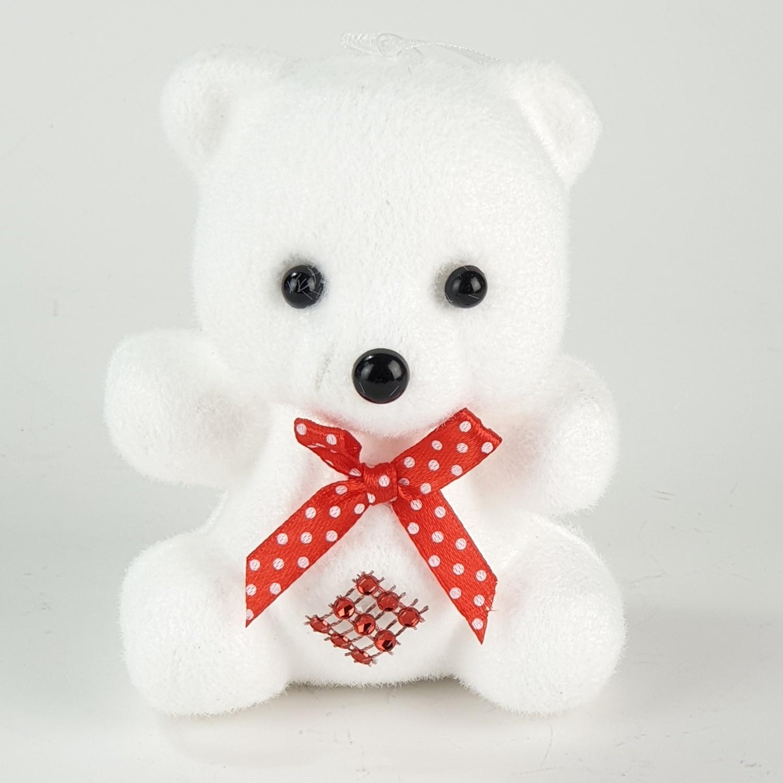 COZY ตุ๊กตาหมีตกแต่งต้นคริสต์มาส ขนาด  9x7x12ซม.  JX18039 สีขาว