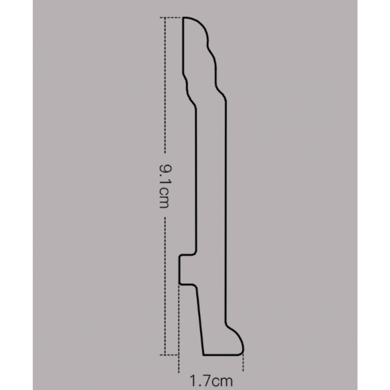 GREAT WOOD บัวพื้น  สีโอ๊ค  ขนาด 92x16x2900mm. JC192-2