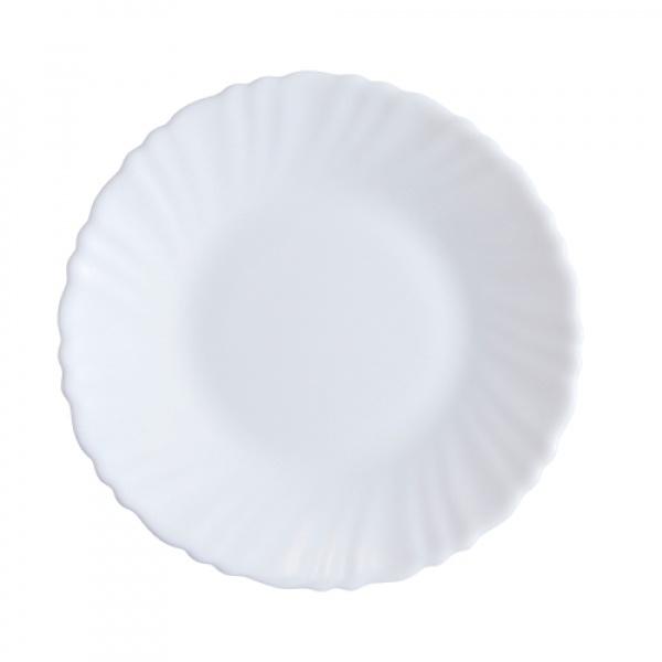 ADAMAS จานโอปอลขอบริ้ว  ขนาด 6 นิ้ว HBQP60-496 สีขาว