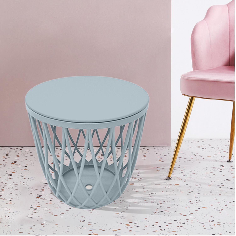 Summer Set เก้าอี้สตูลพลาสติกมีฝา ขนาด 43.5x43.5x43 ซม. HXC-866-BL สีฟ้าอ่อน