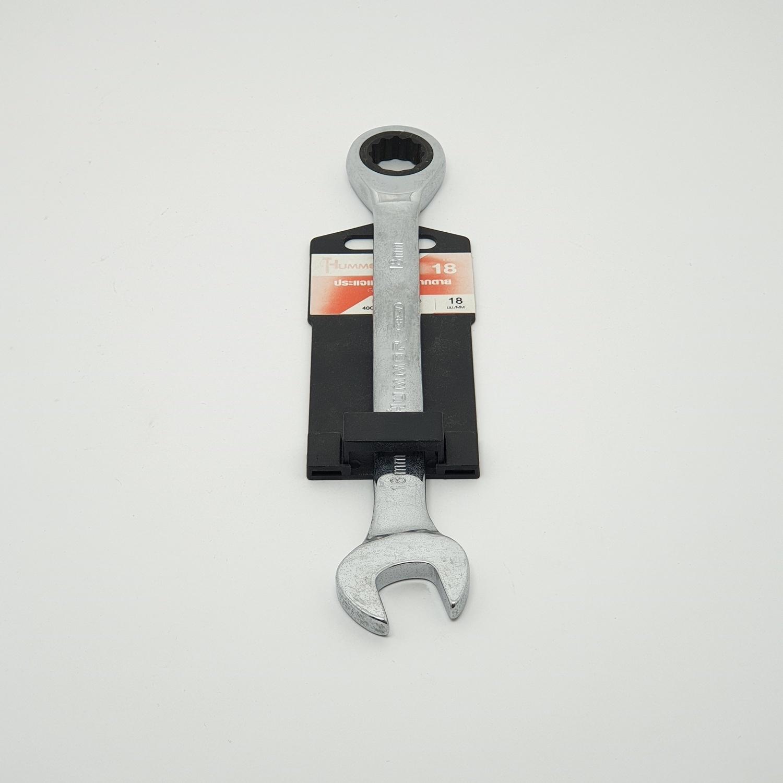HAMMER ประแจแหวนฟรีปากตาย  เบอร์18 สีโครเมี่ยม
