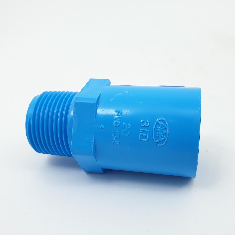 AAA ข้อต่อตรงเกลียวนอก หนา 3/4 นิ้ว (20)  ชั้น 13.5  สีฟ้า
