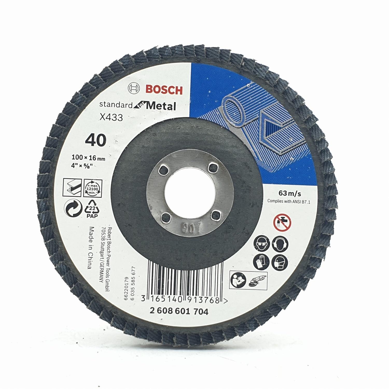 BOSCH กระดาษทรายซ้อนหลังแข็ง 4นิ้ว  P40 สีดำ