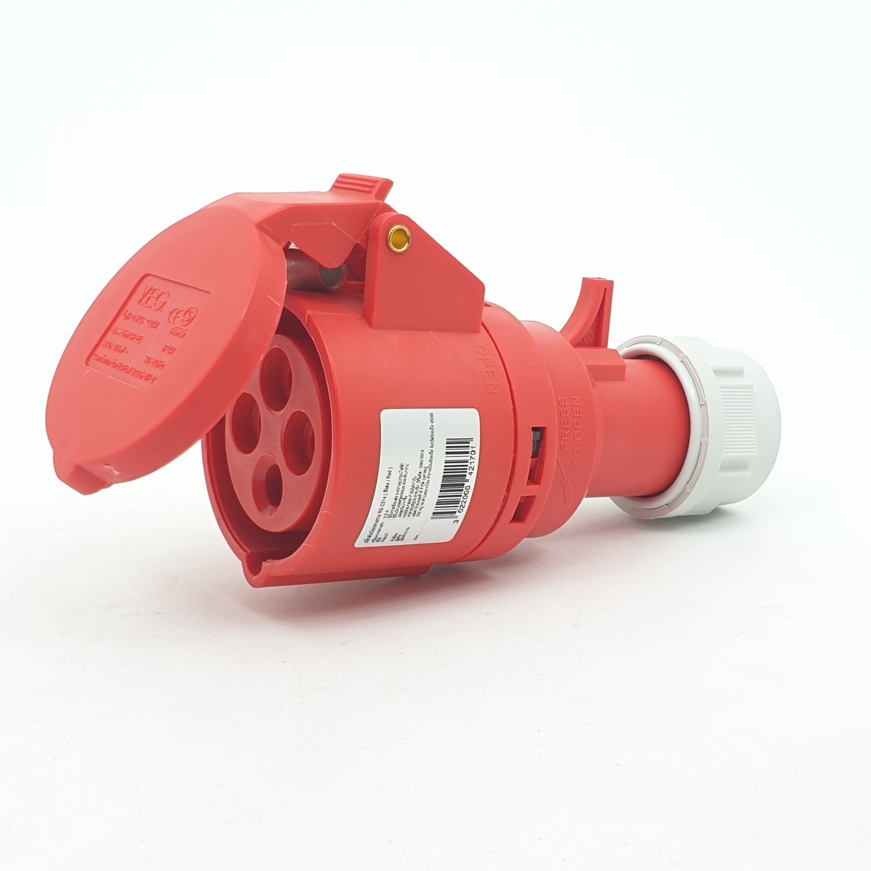 V.E.G ปลั๊กตัวเมียกลางทาง RG-C214 สีแดง