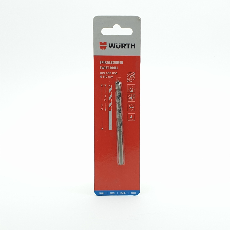 WUERTH ดอกสว่าน เจาะเหล็ก ขนาด 5.0 mm. DIN 338 HSS 5.0 mm.