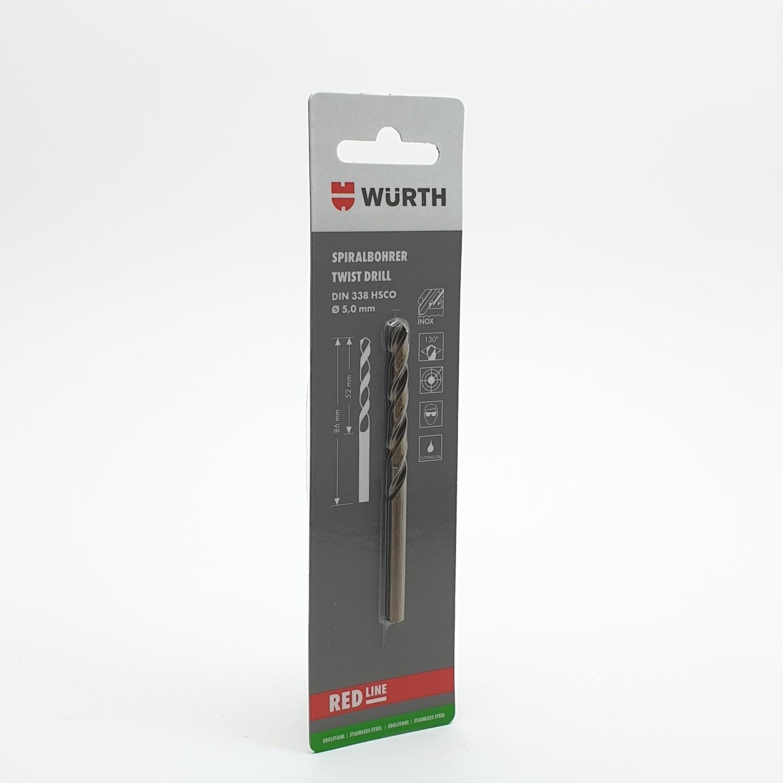 WUERTH ดอกสว่าน เจาะสเตนเลส ขนาด 5.0 mm. DIN 338 /HSCO 5.0 mm.