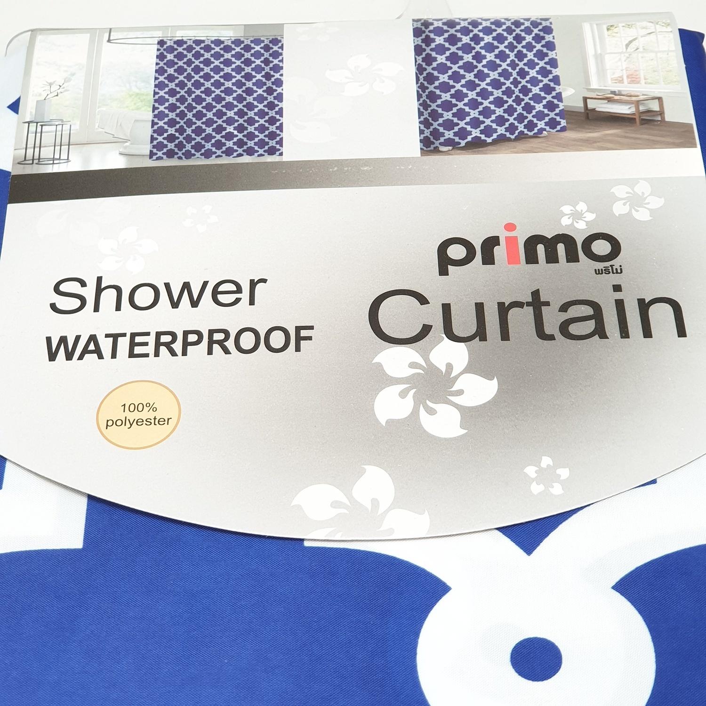 PRIMO ม่านห้องน้ำโพลีเอสเตอร์ ขนาด 180x180 cm DDF017-BU  สีน้ำเงิน