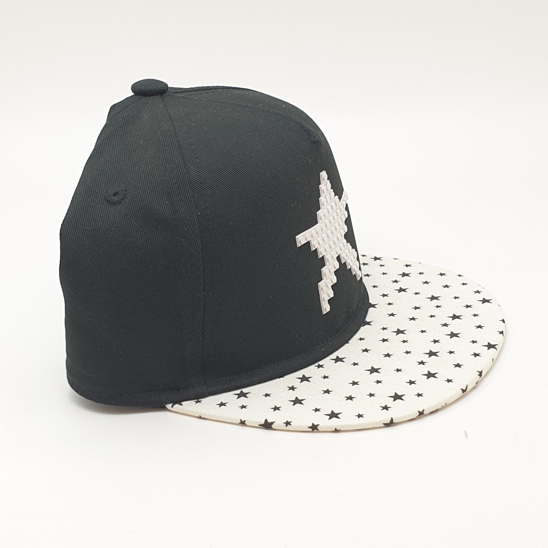 USUPSO หมวกปีกแบนเด็กลายดาว  - สีดำ