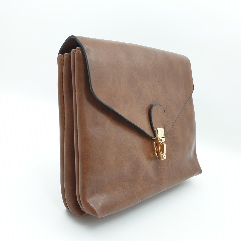 USUPSO กระเป๋าสะพายข้าง  สีน้ำตาล