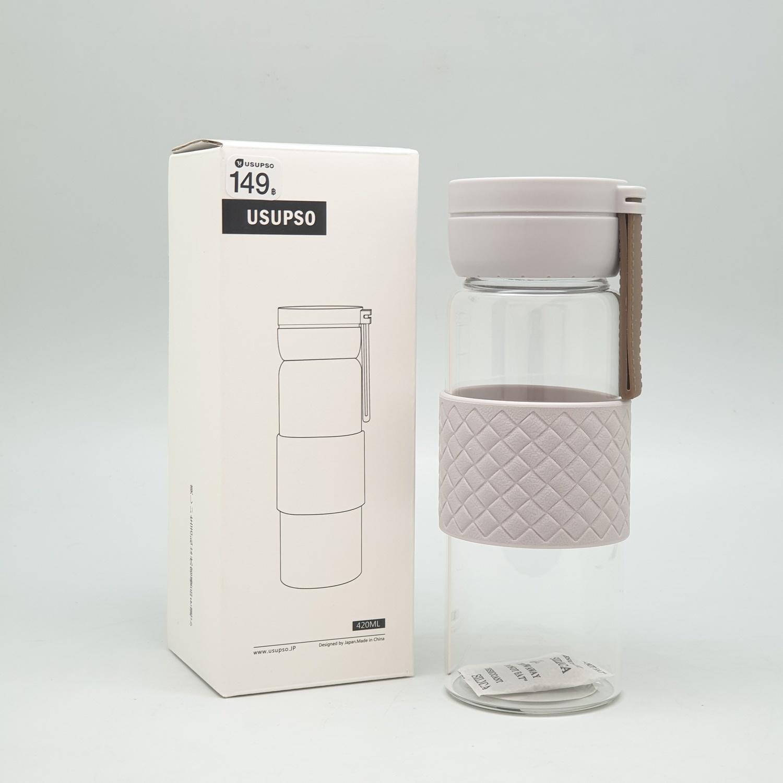 USUPSO  กระบอกแก้วน้ำ  400 ml.  **คละสี**