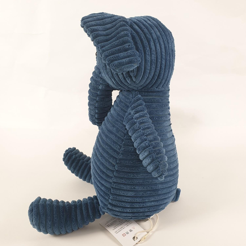 USUPSO ตุ๊กตาช้างผ้าลูกฟูกลายริ้ว  37 ซม. น้ำเงิน