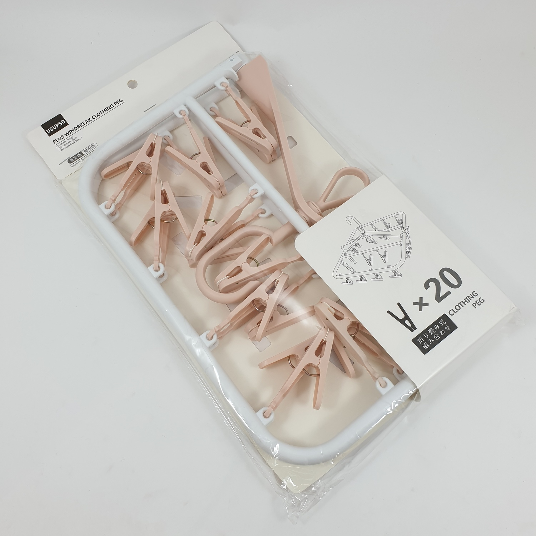 USUPSO ที่หนีบผ้า  20 ชิ้น สีชมพู