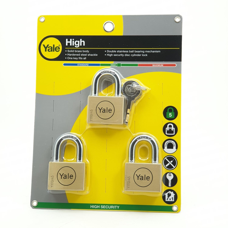 YALE กุญแจคล้อง เยล ขนาด 45 มม.คีย์อะไลค์แพ็ค 3 BD45P3