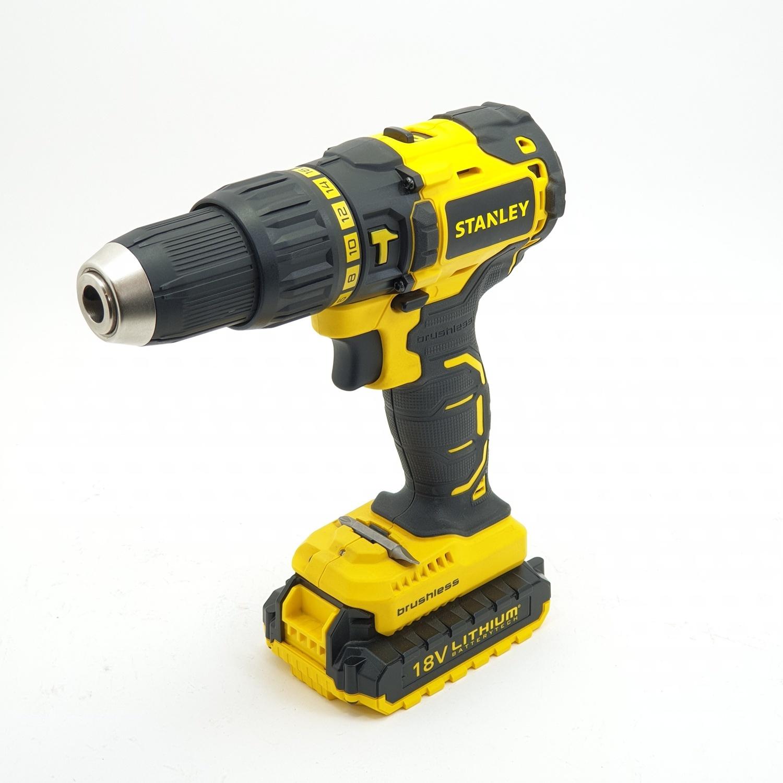 STANLEY สว่านกระแทกไร้สาย 18V Brushless  SBH201D2K-B1 สีเหลือง