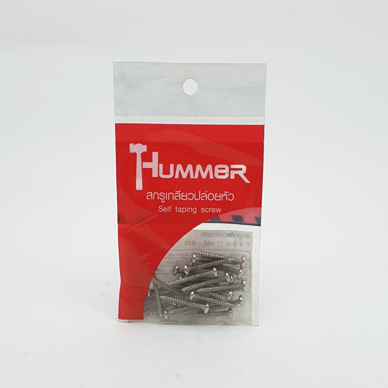 HUMMER สกรูเกลียวปล่อยหัว 6X1นิ้ว (25ตัว/แพ็ค) P-HM610 สีโครเมี่ยม