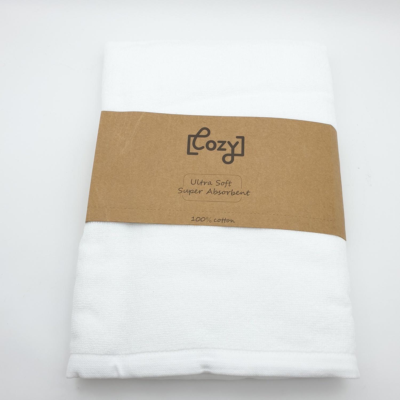 COZY ผ้าเช็ดตัวโรงแรม ขนาด 70×140×0.4 ซม. LL01 สีขาว