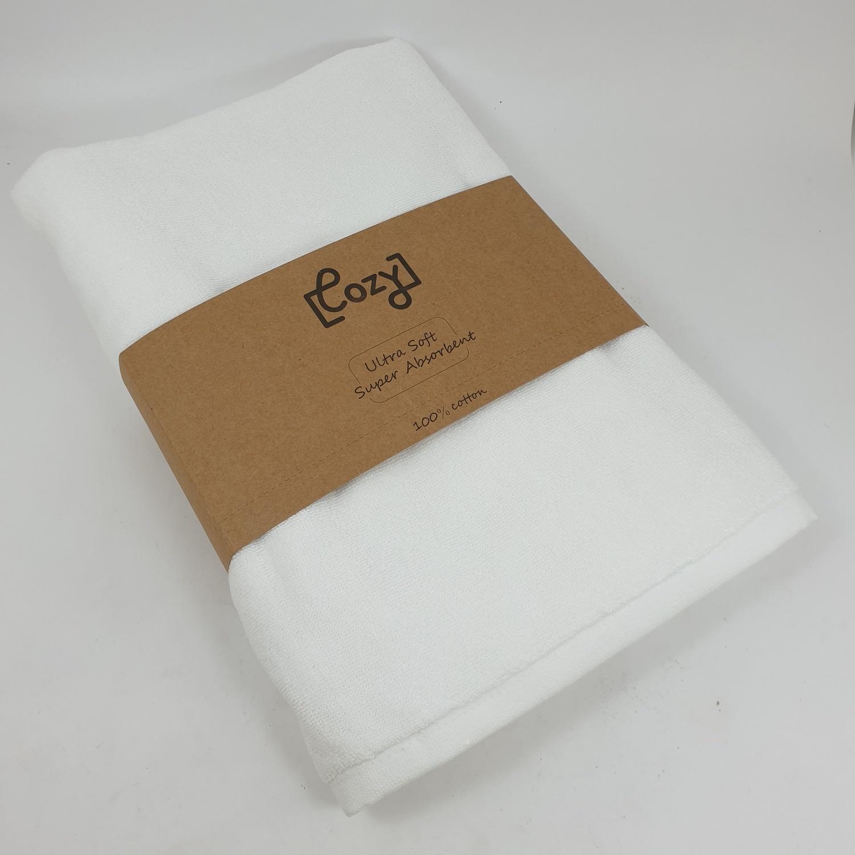 COZY ผ้าเช็ดตัวโรงแรม ขนาด 75×150×0.5 ซม.  LL02 สีขาว