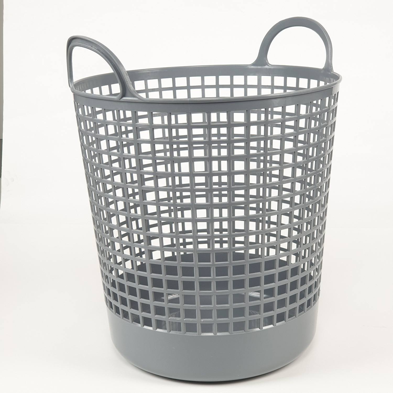 SAKU  ตะกร้าผ้าพลาสติกมีหู 30ลิตร ขนาด 37.5x37.5x45ซม. TG51949 สีเทา