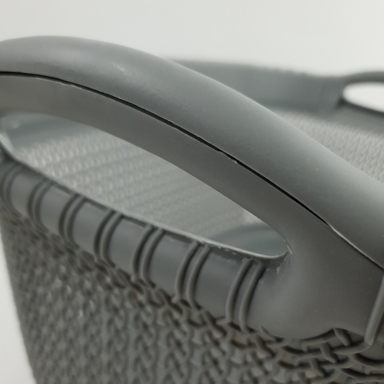 SAKU ตะกร้าผ้าพลาสติกมีหู 37ลิตร ขนาด 58x40x27.5ซม.  TG51159 สีเทา