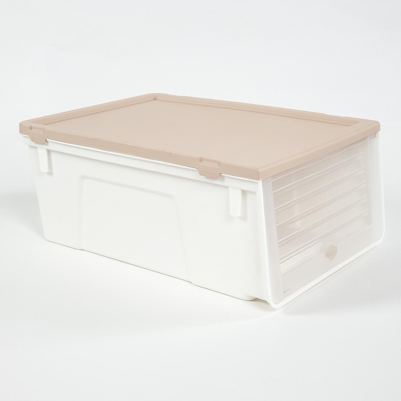 SAKU กล่องรองเท้าฝาหน้า ขนาด 34x23.5x14ซม. TG54959 สีเบจ