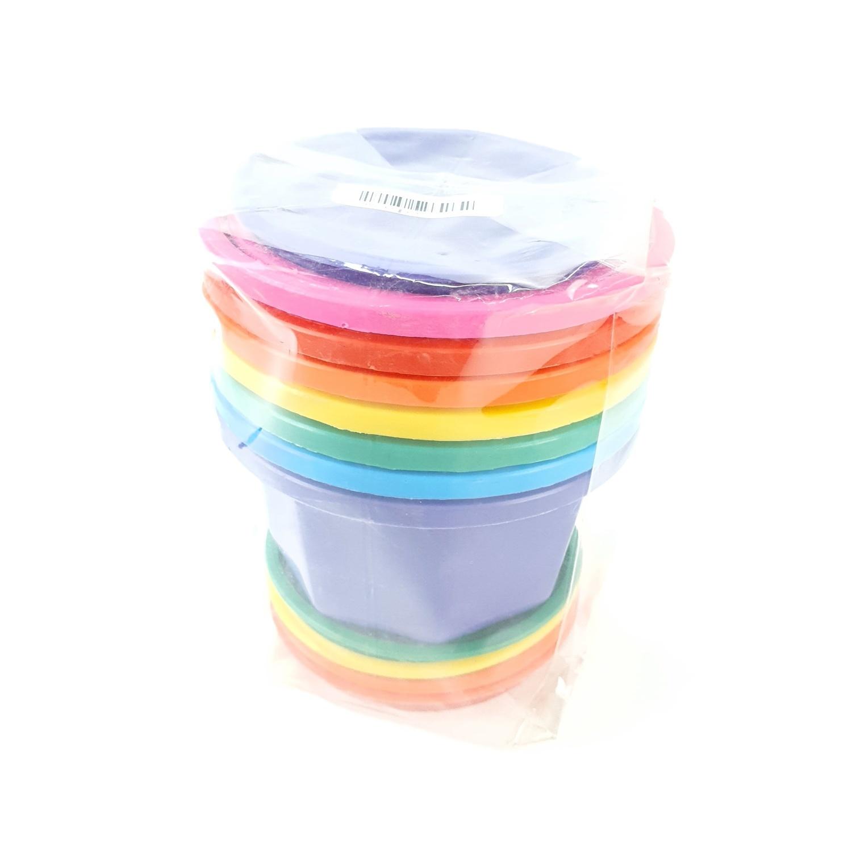 -  กระถางปากกลม 7 สี-จานรอง -