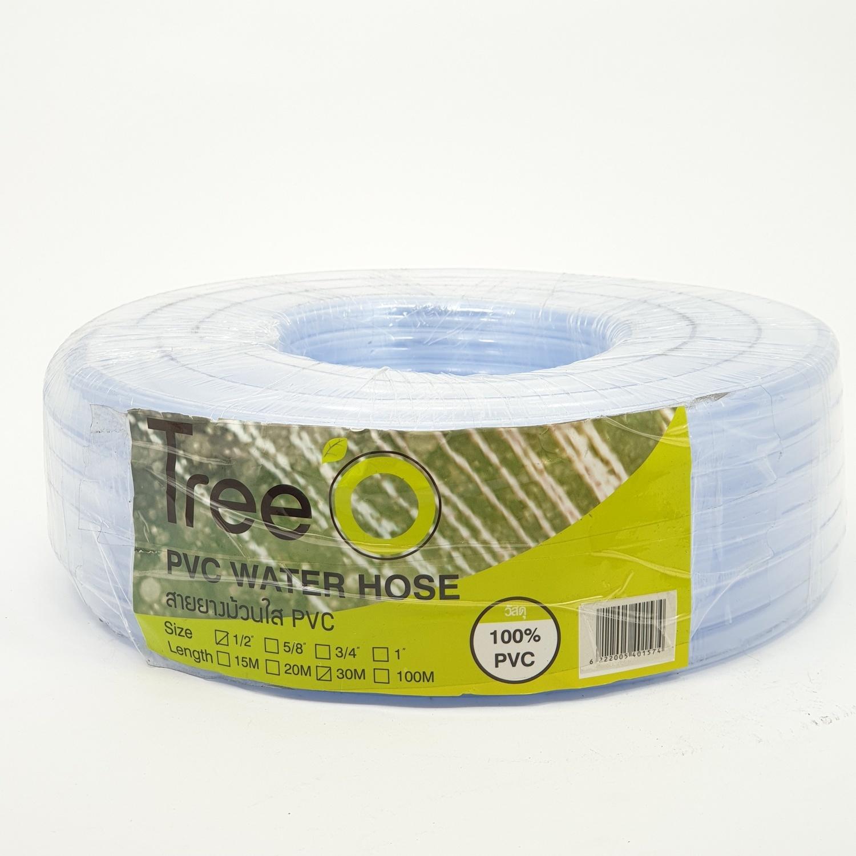 Tree O สายยางม้วนใส  PVC ขนาด 1/2นิ้ว x30M GH-12-30