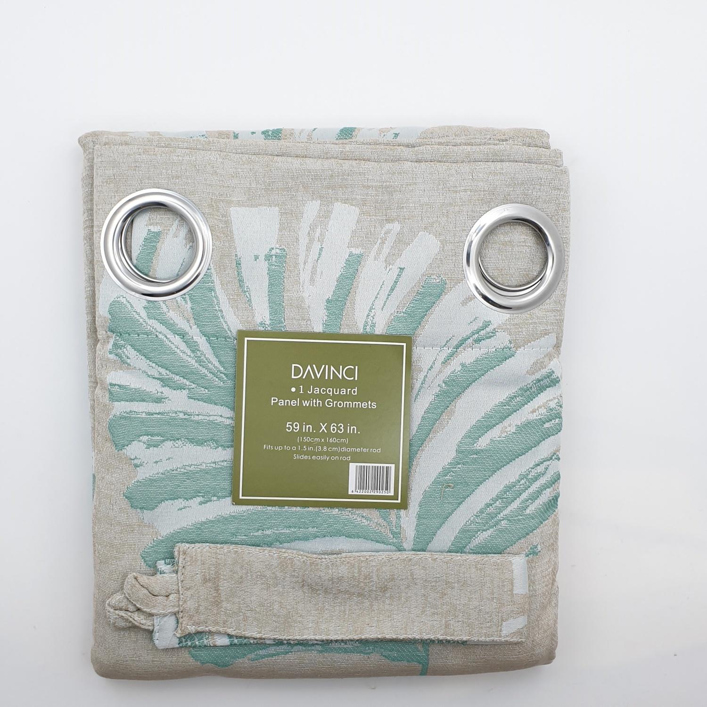 Davinci ผ้าม่านหน้าต่างพิมพ์ลาย ขนาด 150x160 ซม.  A72005CC#1WD สีเขียว