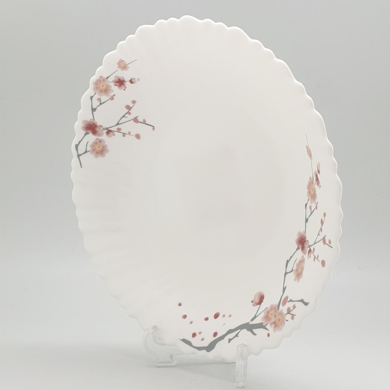 ADAMAS จานก้นลึกโอปอลขอบริ้ว ขนาด 9.5 นิ้ว HBSP95-496 ขาว
