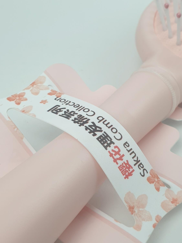 USUPSO หวีแปรงทรงรี  ดอกซากุระ สีชมพู