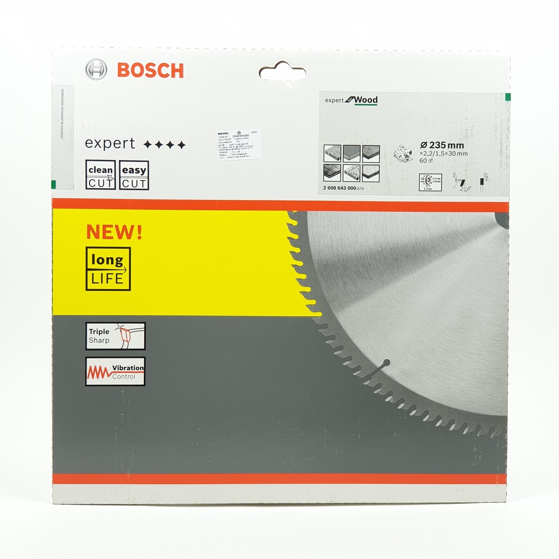 BOSCH ใบเลื่อยวงเดือน CSB Expert for wood (9 1/4 X 60T) เงิน