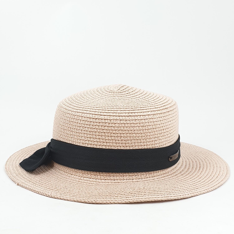 USUPSO  หมวกสานโบว์ดำ - ชมพู -