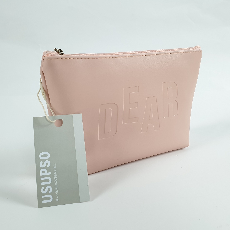 USUPSO  กระเป๋าเครื่องสำอางทรง 3 เหลี่ยม - สีชมพู