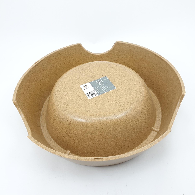DUDUPETS ชามพลาสติก  ไซส์ L ขนาด 23×28.3×7ซม. BP003L สีน้ำตาล