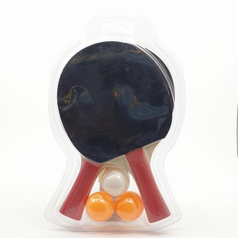 4TEM ชุดไม้ปิงปอง 1คู่ พร้อมลูกปิงปอง 3ลูก ขนาด15x25x2ซม. SG-9285 สีแดง