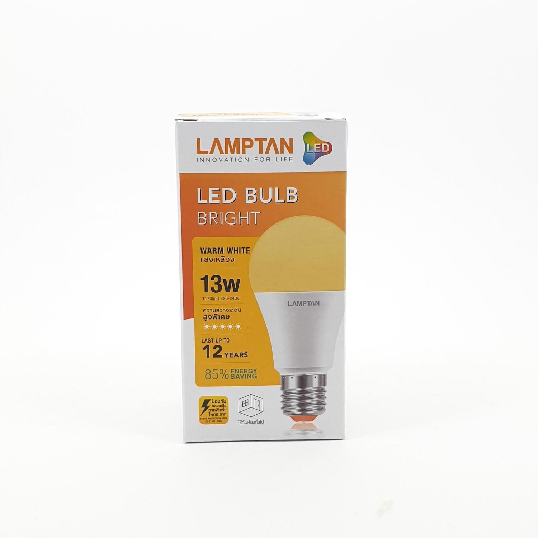 LAMPTAN หลอดแอลอีดี แฟลช 13 วัตต์ แสงวอร์มไวท์ ฺBULB A65 สีขาว